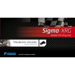 TSUBAKI Łańcuch 525 Sigma-2 XRG 124 ogniw X-RING ZŁOTY OTWARTY + ZAKUWKA