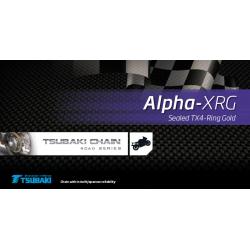 TSUBAKI Łańcuch 525 Alpha 2 XRG 124 ogniw X-RING ZŁOTY OTWARTY + ZAKUWKA